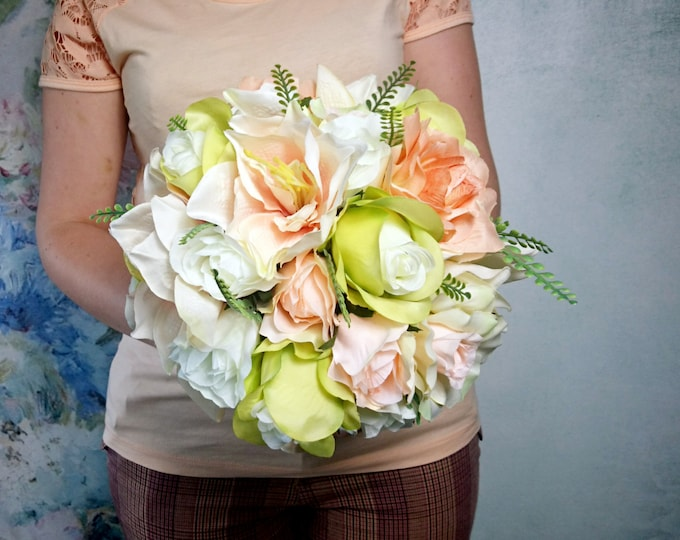 Silk and satin flowers pastel wedding BOUQUET peach green cream Flowers, satin ribbon,  Bridesmaids, cheap greenery amarylis