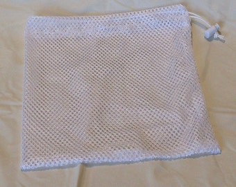 Mesh laundry bag for washing small items, approximately 8 by 11 inches