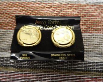 18k Gold Aruba Coin Earrings