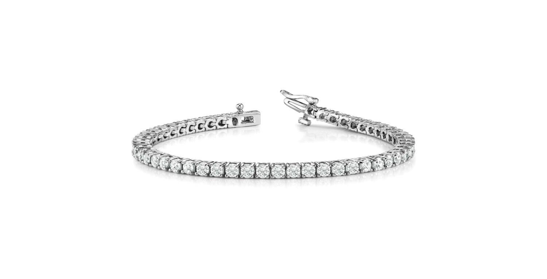 5 carat forever one moissanite tennis bracelet 14k white gold. Black Bedroom Furniture Sets. Home Design Ideas