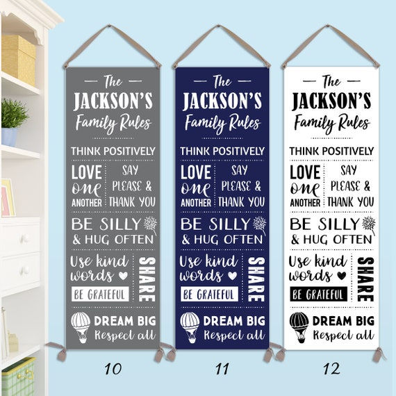 Family Rules Sign - Personalized on Canvas: CG11