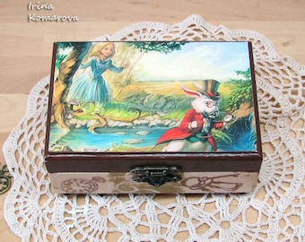 Alice in wonderland, decoupage box, wooden trinket box, jewelry box