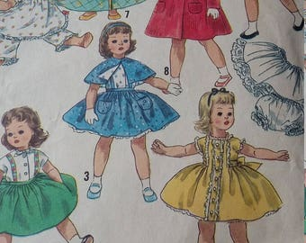 Vintage Simplicity Sewing Pattern 15 Inch Size Doll Wardrobe for Sweet Sue and Binnie
