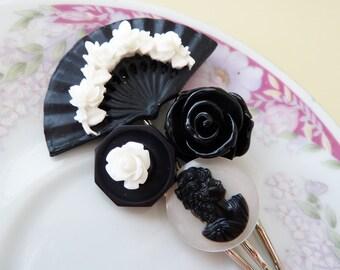 Floral Hair Accessories, Women Flower Bobby Pin Set, Floral Fan Flowers Vintage Cabochon, Black White