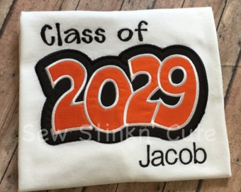 Personalized Machine Embroidered/Appliqued Class of 2029 Shirt