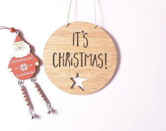 Its Christmas Wooden Bamboo Door-Wall Hanging-plaque-merry christmas- wall art-christmas decoration-ornament-bauble