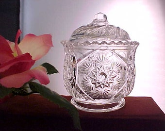 EAPG Childs Toy Sugar Bowl & Lid in Fernland AKA Snowflake by Cambridge Glass From Early 1900s, Early American Pressed Pattern Glassware
