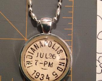 1934 Vintage Postmark Pendant , Handmade Pendant,Handmade Jewelry, Jewelry, Necklaces