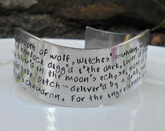 Macbeth Jewelry|Witches Chant Bracelet|Macbeth Bracelet|Hand Stamped Cuff|English Teacher|English Literature|William Shakespeare Jewelry
