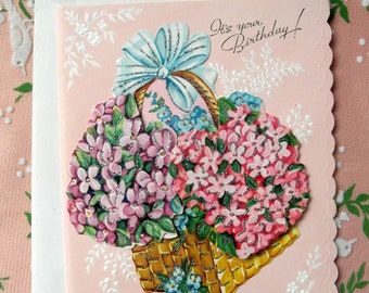 Vintage Birthday Greeting Card Unused Midcentury 50s Ephemera Glitter Floral Lilac Shabby Cottage Chic Paper Kitsch USA