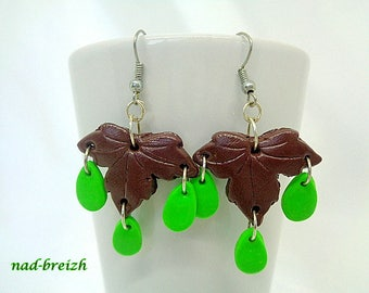 Brown maple leaf polymer Fimo clay earrings + drops green - hand made
