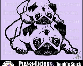 Pug-a-Licious Pug Dog Silhouettes Double Stack PUGS - Vinyl Image Ready Graphics Set - 1 eps, svg, png, scl {Instant Download}