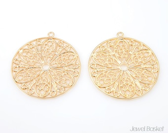 Flower in Circle Pendant (2pcs) - Large Version / 29.5mm / BMG106-C