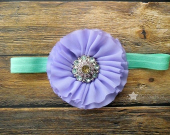 Infant headband, purple, mint, elastic headband, baby headband, newborn headband, baby girl, headband infant, headband newborn, headband