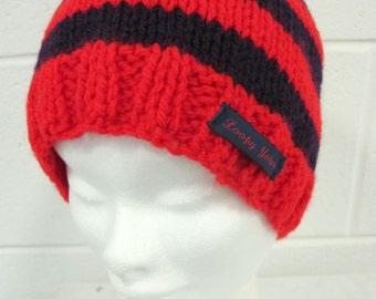 Red and Purple Handknit Beanie Hat