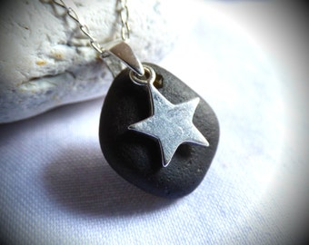 Black Sea Glass, Sea Glass Pendant, Star Pendant, Sterling Silver Star, Sea Glass Jewellery, Sea Glass Star, Goth Pendant, Black - PG16004