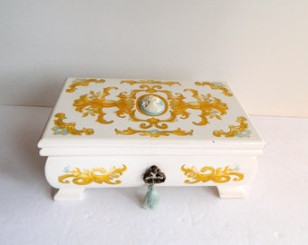 """Vintage White and Gold Cameo Jewelry Box Case - Mirror - Blue Velvet - 8 Compartments - Wood - 8 1/2"""" L x 5"""" W x 3 3/4"""" H"""