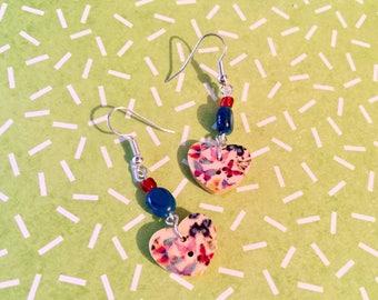 2 button hearts butterflies for pierced earrings