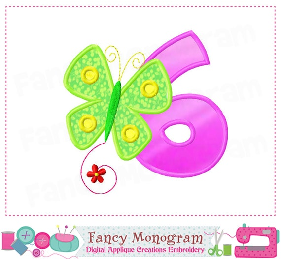 Butterfly number 6 applique butterfly birthday number 6 for Embroidery office design version 9