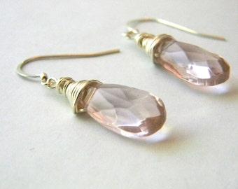 Pink Glass Sterling Silver Briolette Earrings Dangle Earrings