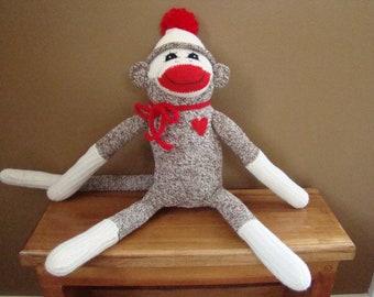 New Sock Monkey Doll from Vintage Red Heel Socks
