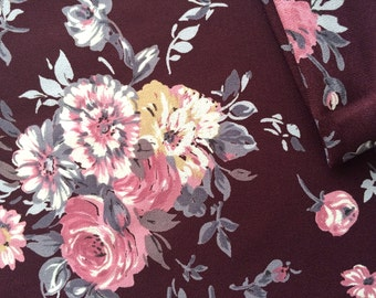 Vintage Fabric 70's Polyester, Floral, Rose, Print, Burgundy, Material, Textiles