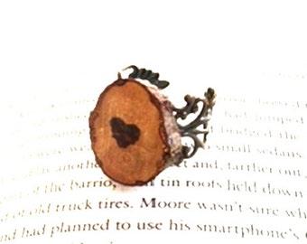 Chestnut Wood Slice Adjustable Vintage Design Filigree Ring - Personalzie ring - Initial Stamped ring