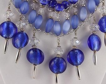 Blue Statement Necklace, Statement Necklace, Chunky Necklace, Dark Blue Beaded Necklace, Blue Bib Necklace, Bib Necklace