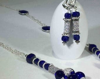 Lapis, cobalt blue quartz and Swarovski crystals set the stage for this awesome necklace.