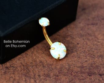White Fire Opal Belly Button Ring  Gold Belly Button Ring  Opal Belly Ring  Opal Belly Jewelry  14G Navel Ring