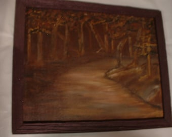 Vintage Signed Pryor? or Payne? Oil Painting Scary Impressionistic Forest