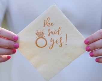 Engagement Party Favors - She Said Yes Cocktail Napkins, Bridal Shower, Couples Shower, I Do BBQ, Mimosa Bar, Wedding Favors
