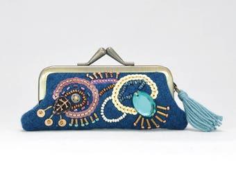 Lipstick pouch, make up bag, cosmetic bag, tiny purse, make up pouch, Lipstick holder, Blue Lipstick case, sparkly Lipstick No, 4