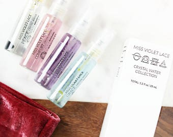 Crystal Water Sampler Collection | Face Mist Sampler | Gifts for Her | Mother's Day Gifts | 100% natural and vegan set of 4