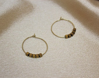 SIMPLE SQUARE BEADS Earring, Hoop earring, Handmade Earring, Gold hoop Earring, Minimal hoop earring