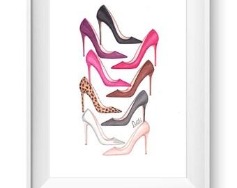 Fashion illustration print, Fashion art, girl art, girls room art, vanity art, watercolor - The Painted Shoes