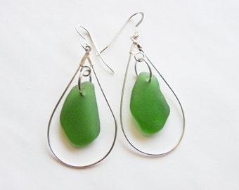 Green or seafoam sea glass earrings - drop earrings - green sea glass chandelier earrings