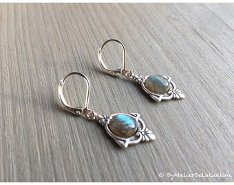 Art deco Iza earrings, sterling silver and labradorite