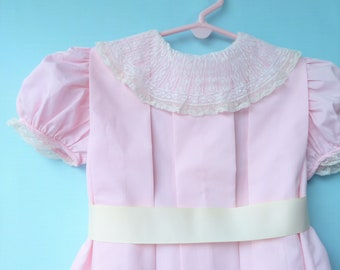 Vintage Pink Pleated Heirloom Toddler Dress w/ Lace Collar   Size 4-5  Handmade