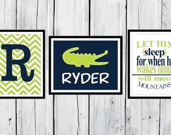 Alligator Nursery  - 3 Print Set - Boy's Nursery Decor 8x10 - 11x14 Custom Colors - Lime & Navy Nursery Decor