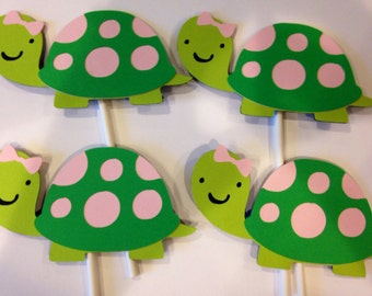 12 girl turtle cupcake toppers