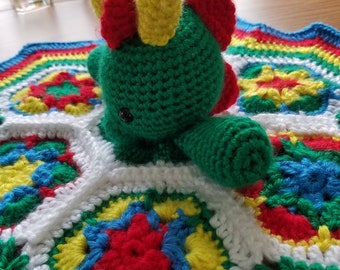 Crocheted Baby Dragon Lovey Baby Security Blanket Baby Shower Gift