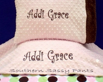 Personalized Blanket and Pillow Set - Stroller Blanket and Toddler Pillow, 30x40 - Minky Blanket and Pillowcase, Perfect for Daycare