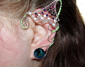 Avatar inspired jewelry, Pandora inspired ear jewelry, Bejeweled ears for Neytiri costume, Na'vi cosplay, fantasy, elf ears, fairy ears