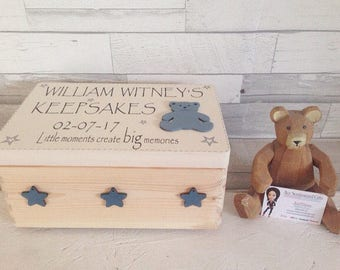 Special baby boy gift, personalised memory box, wooden keepsake chest, baby memento keepsake, new baby gift, baby item storage,