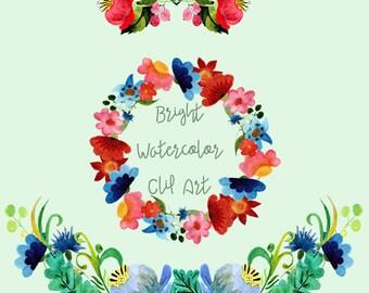 Hand-Painted Watercolor Bright Flowers Clip Art - Digital - Wreath