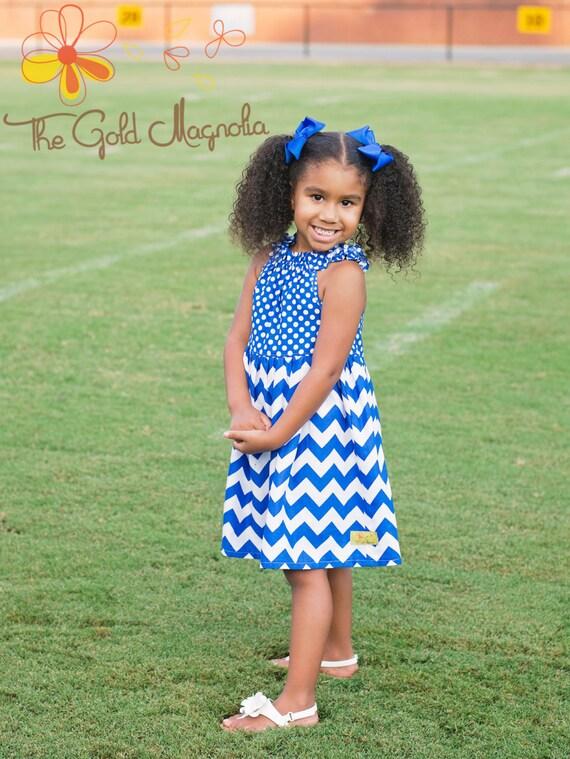 Kentucky Wildcats - Penn State Nittany Lions - Yale Bulldogs - Duke Blue Devils - BYU Cougars - Girls Blue and White Dress -  Football dress