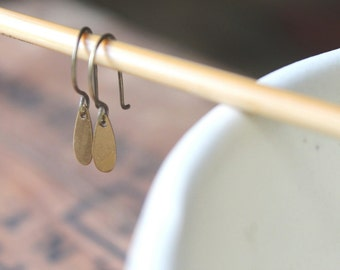 Breckenridge Tiny Antique Brass Paddle Drop  Earrings on Artisanal Brass Ear Wire - Everyday Casual