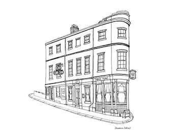 The Three Tuns Sheffield Print - Sheffield Pub Illustration - Sheffield Gift - Sheffield Architecture - Black and White - Line Drawing