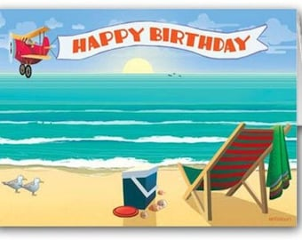 Beach Happy Birthday Card Pack - 12 cards and 13 envelopes - Beach Theme Cards - 11035